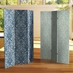 6 ft. Ocean Damask  Printed 3-Panel Room Divider
