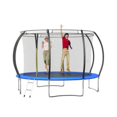 12 ft. Pumpkin-Shaped Trampoline with Enclosure Net, Safety Pad and Ladder, Outdoor Yard Trampoline for Kids and Family