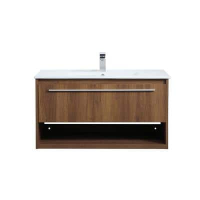 Timeless Home 36 in. W x 18.31 in. D x 19.69 in. H Single Bathroom Vanity in Walnut Brown with Porcelain and White Basin
