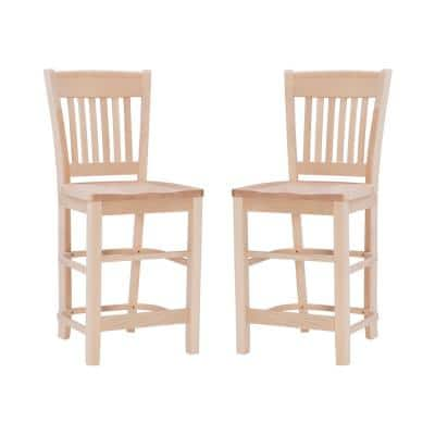 Dorothy 40.5 in. Unfinished Wood Back Bar Stool with 24 in. High Wood Seat (Set of 2)