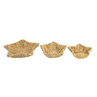 Brown Water Hyacinth and Metal Decorative Wicker Trays (Set of 3)