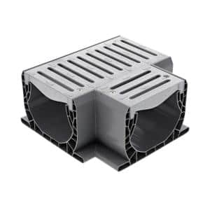 Spee-D Channel Drain Plastic Tee and Grate, Gray