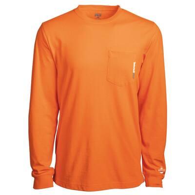 Base Plate Men's XL PRO Orange Long Sleeve Pocket Work T-Shirt