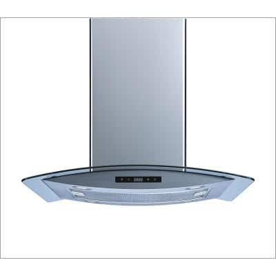 30 in. 520 CFM Convertible Island Mount Range Hood in Stainless Steel and Glass with LED Lights and Touch Control