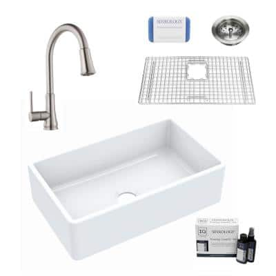 Inspire All-in-One Farmhouse Apron Front Fireclay 30 in. Single Bowl Kitchen Sink with Pfister Faucet and Drain