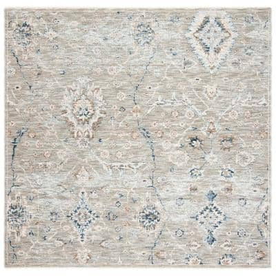 Moondust Gray/Ivory 6 ft. x 6 ft. Square Floral Area Rug