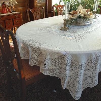 Canterbury Classic Rectangle White Cotton Tablecloth
