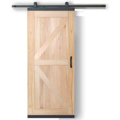 36 in. x 80 in. DesignGlide Farmhouse Unfinished Solid Wood 4-Panel Sliding Barn Door w/ Black Hardware Kit