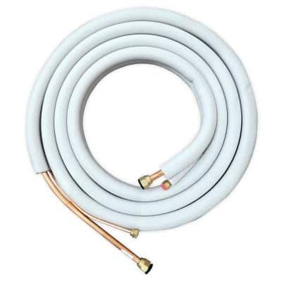 25 ft. 1/4 in. x 3/8 in. Flared Line Set Kit with Communication Wire, Wall Sleeve and Drain Hose