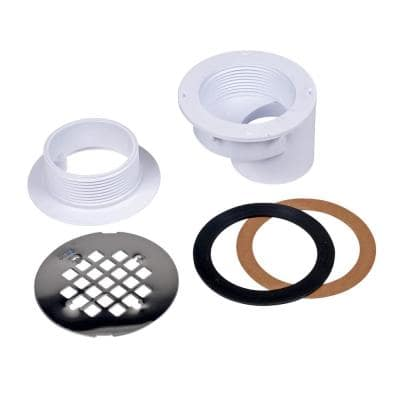 Round Offset White PVC Shower Drain with 4-1/4 in. Round Snap-In Stainless Steel Drain Cover