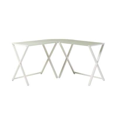 102 in. U-Shaped White Metal Computer Desks with Glass Top