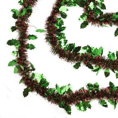 Northlight 50 Ft 8 Ply Unlit Shiny Red And Green Christmas Tinsel Garland With Green Holly 32273970 The Home Depot