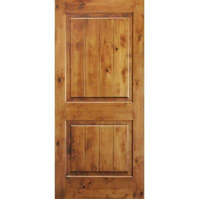 36 in. x 80 in. Knotty Alder 2 Panel Square Top V-Groove Solid Wood Right-Hand Single Prehung Interior Door