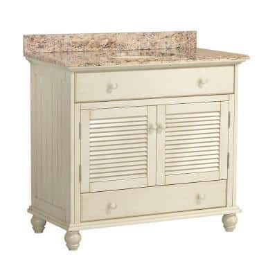 Cottage 37 in. W x 22 in. D Vanity with Vanity Top and Stone Effects in Santa Cecilia