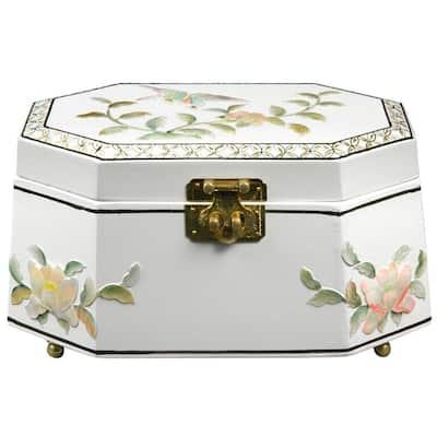 Oriental Furniture Antoinette Lacquer Jewelry Box in White