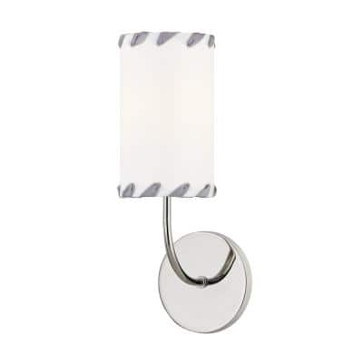 Hannah 1-Light Polished Nickel Wall Sconce with Off White Shade