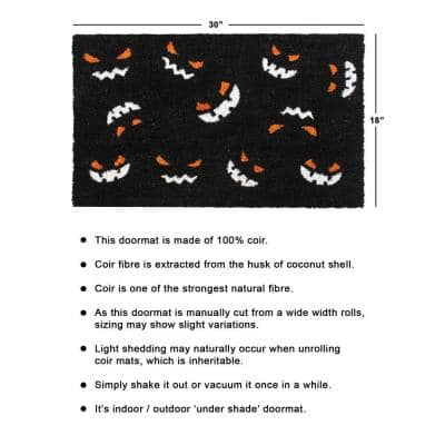 White 18 in. x30 in. Machine Tufted Pumpkin Faces Doormat