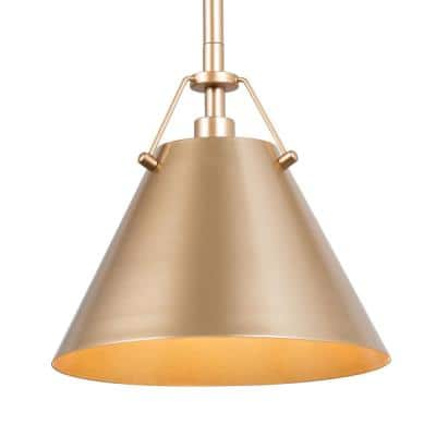 8 in. 1-Light Modern Antique Gold Pendant Light with Metal Shade