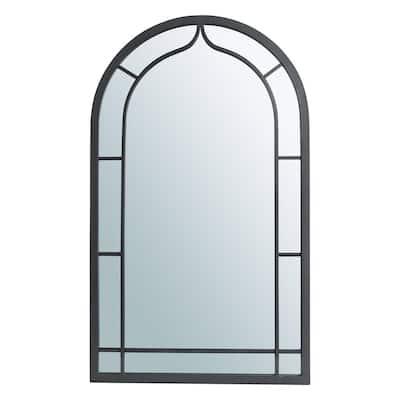 33.07 in. H x 19.69 in. W Modern Medium Arch Framed Black Iron Gothic Glass Mirror