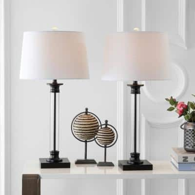 Mason 30 in. Black/Clear Glass and Metal Table Lamp (Set of 2)