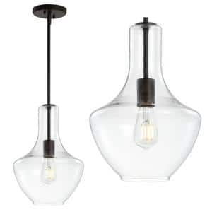 Watts 10.5 in. 1- Light Oil Rubbed Bronze/Clear Glass/Metal LED Pendant