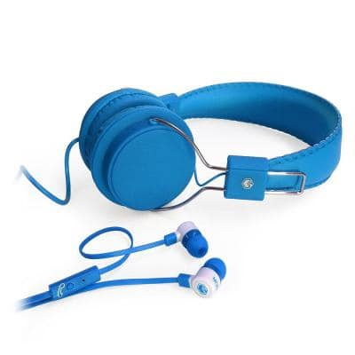 2-in-1 Combo Pack Stereo Headphones and Earphones in Blue