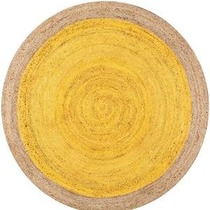 Elanora Farmhouse Bordered Jute Yellow 6 ft. Round Rug