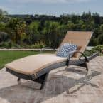 Salem Multi-Brown 2-Piece Wicker Outdoor Chaise Lounge with Caramel Cushion