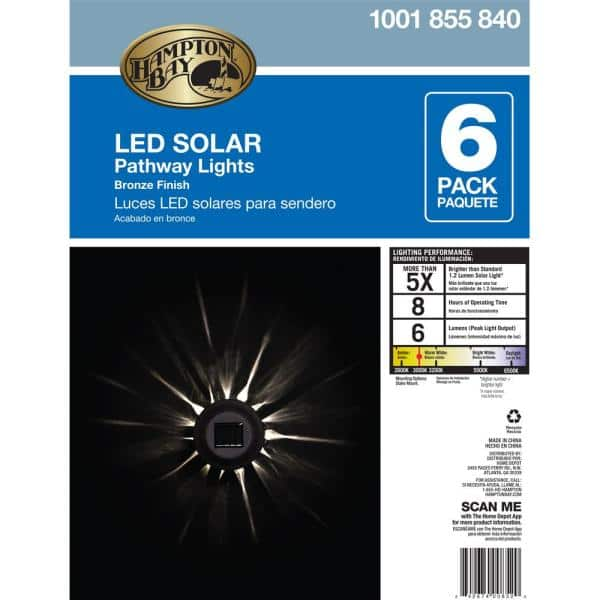 Hampton Bay - Solar Bronze Outdoor Integrated LED Landscape Path Light with Water Patterned Lens (6-Pack)