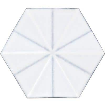 Ogassian Mesa White 5.875 in. x 6.78 in. Polished Ceramic Hexagon Wall Tile (5.27 sq. ft. / Case)
