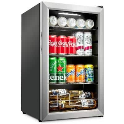 17 in. 101 Can Freestanding Beverage Cooler Refrigerator with Adjustable Shelves - Stainless Steel