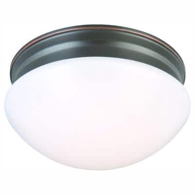 9 in. 120-Watt Equivalent Oil-Rubbed Bronze Integrated LED Mushroom Flush Mount with White Acrylic Shade