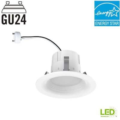 65-Watt Equivalent Softwhite 4 in. GU24 White Integrated LED Recessed Trim