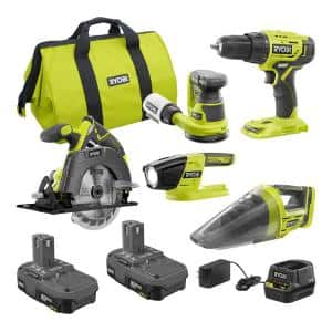 ONE+ 18V Cordless 5-Tool Combo Kit with (2) 1.5 Ah Compact Lithium-Ion Batteries, Charger, and Bag