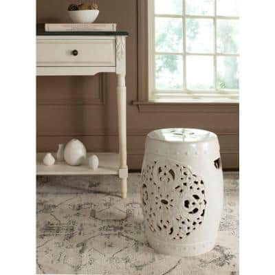 Flora Cream Ceramic Garden Stool