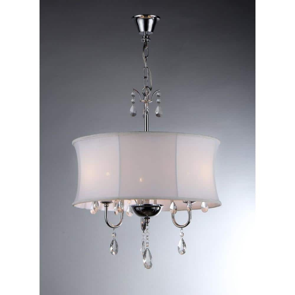 Warehouse Of Tiffany Melissa 3 Light Chrome Crystal Chandelier With Fabric Shade Rl3207 The Home Depot