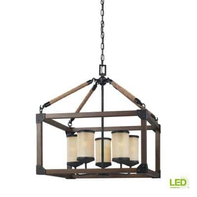 Dunning 5-Light Weathered Gray and Distressed Oak Rustic Farmhouse Single Tier Hanging Chandelier with LED Bulbs
