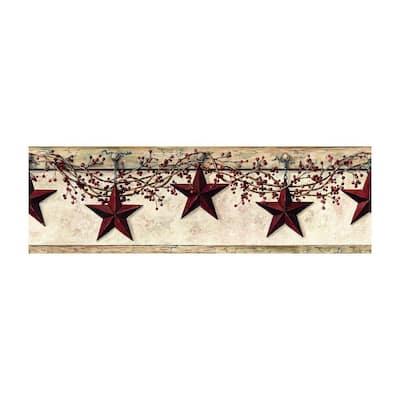 Best of Country Hanging Star Border Off White/Khaki Wallpaper Border