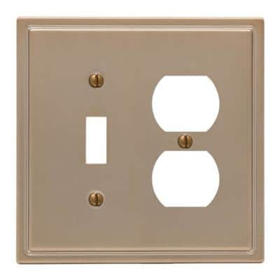 Moderne 2 Gang 1-Toggle and 1-Duplex Steel Wall Plate - Brushed Bronze