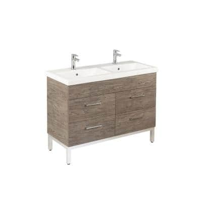 Infinity 48 in. W x 18 in. D Double Bath Vanity in Santorini with Ceramic Vanity Top in White