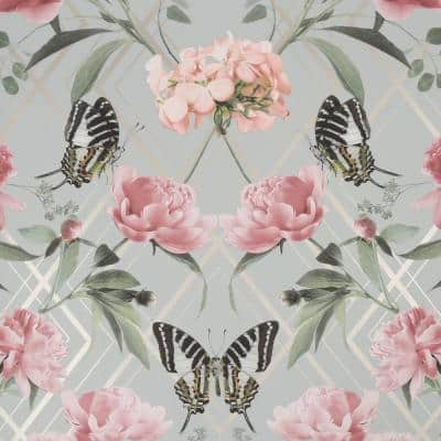 Botanical Trellis Grey and Pink Unpasted Removable Peelable Paper Wallpaper
