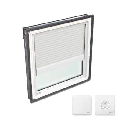 22-1/2 in. x 22-15/16 in. Fixed Deck Mount Skylight w/ Laminated LowE3 Glass & White Solar Powered Light Filtering Blind