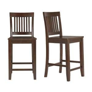 Scottsbury Chocolate Wood Counter Stool with Slat Back (Set of 2) (19.14 in. W x 38.59 in. H)