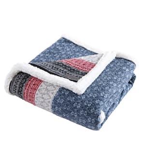 Fair Isle Midnight Ikat Sherpa Reverse Throw Blanket