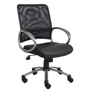 25 in. Width Big and Tall Black Vinyl Task Chair with Swivel Seat