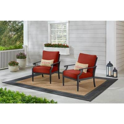 Braxton Park Black Steel Outdoor Patio Lounge Chair with Sunbrella Henna Red Cushions (2-Pack)