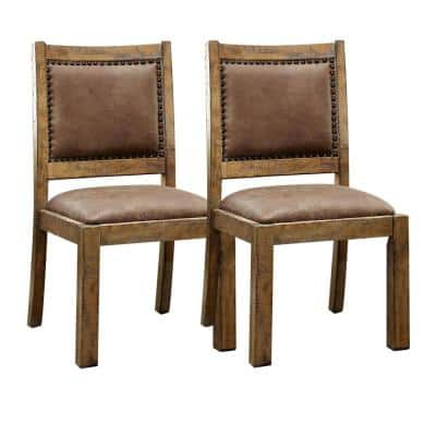 GIANNA Rustic Pine and Brown Cottage Style Side Chair