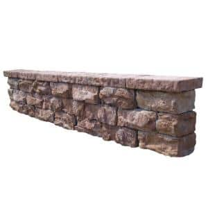 112 in. Fossill Brown Outdoor Decorative Concrete Seat Wall