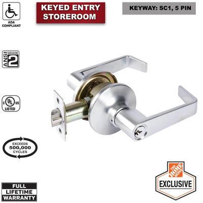 Commercial 2-3/4 in. Satin Chrome Standard Duty Storeroom Door Lever