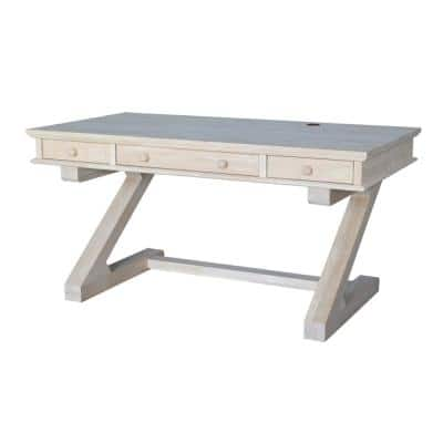 60 in. Rectangular Unfinished 3 Drawer Computer Desk with Solid Wood Material